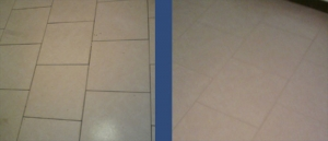 Floor Grout Before & After Regrouting