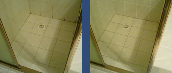 Shower Before & After Regrouting